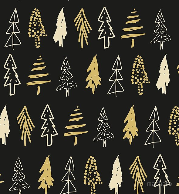 Golden Evergreen Trees Pattern by machare