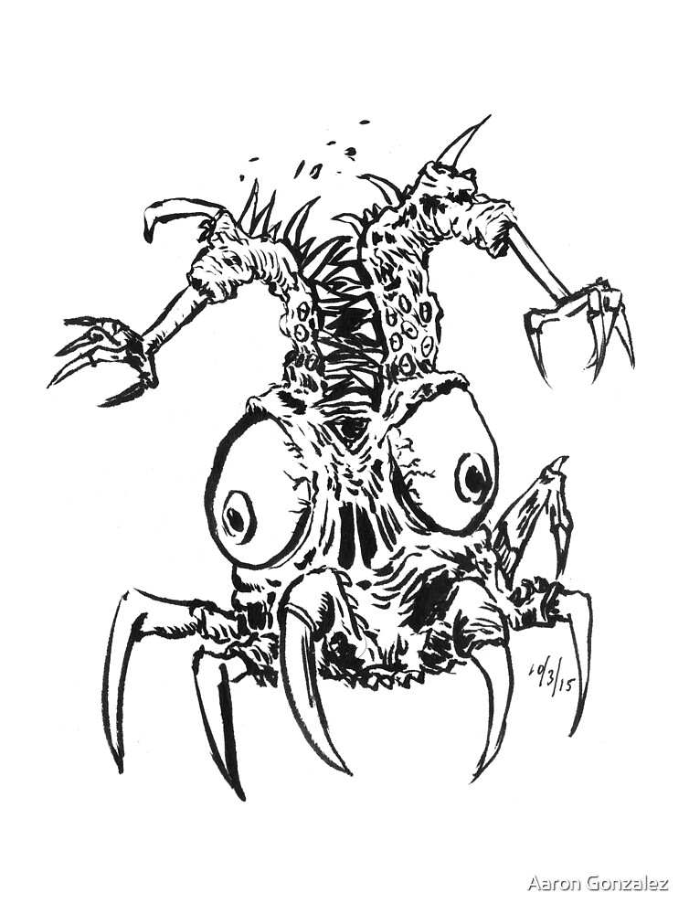 Inktober 2015 Day 03 - Teeth, claws, and eyes by Aaron Gonzalez