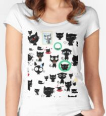 black cat collage  Women's Fitted Scoop T-Shirt
