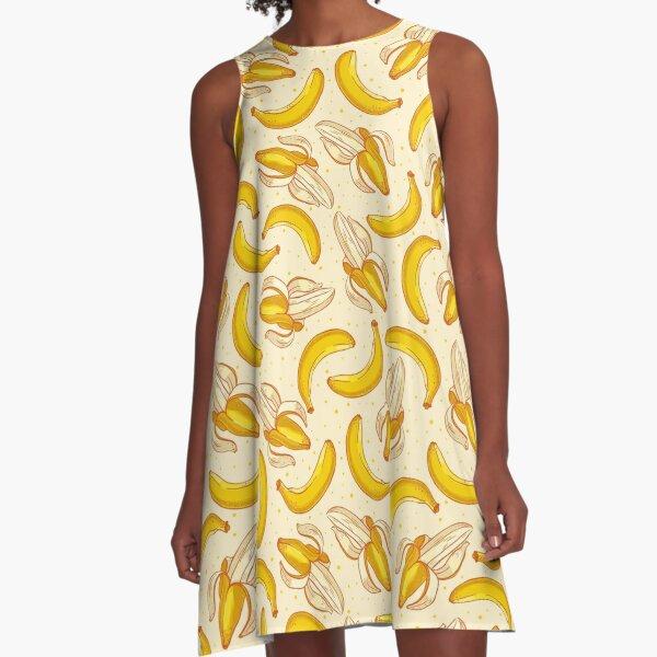 Banana Print Peeled & Unpeeled Bananas A-Line Dress