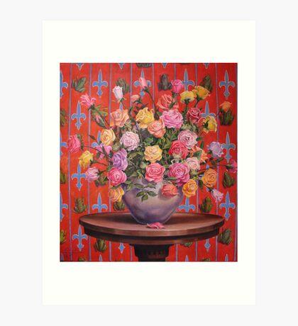 Rosas y Ranitas Art Print