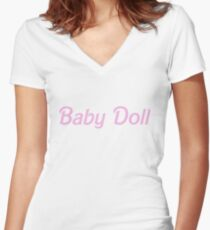 Baby doll barbie Women's Fitted V-Neck T-Shirt