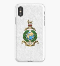 Royal Marines - RM Badge over White Leather iPhone Case/Skin