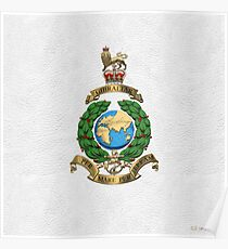 Royal Marines - RM Badge over White Leather Poster