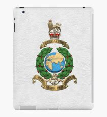Royal Marines - RM Badge over White Leather iPad Case/Skin