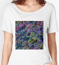 psychedelic rotten sketching texture abstract background in blue yellow pink Women's Relaxed Fit T-Shirt