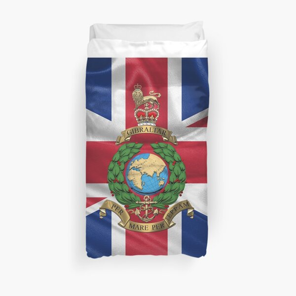 The Corps of Royal Marines - RM Emblem over Flag Duvet Cover