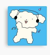 Dancing Headhpnoes White Fluffy Dog Canvas Print