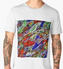 psychedelic rotten sketching texture abstract background in red blue green Men's Premium T-Shirt