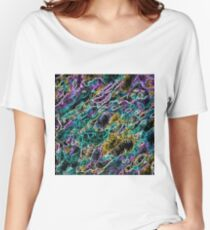 psychedelic rotten sketching texture abstract background in green purple yellow Women's Relaxed Fit T-Shirt