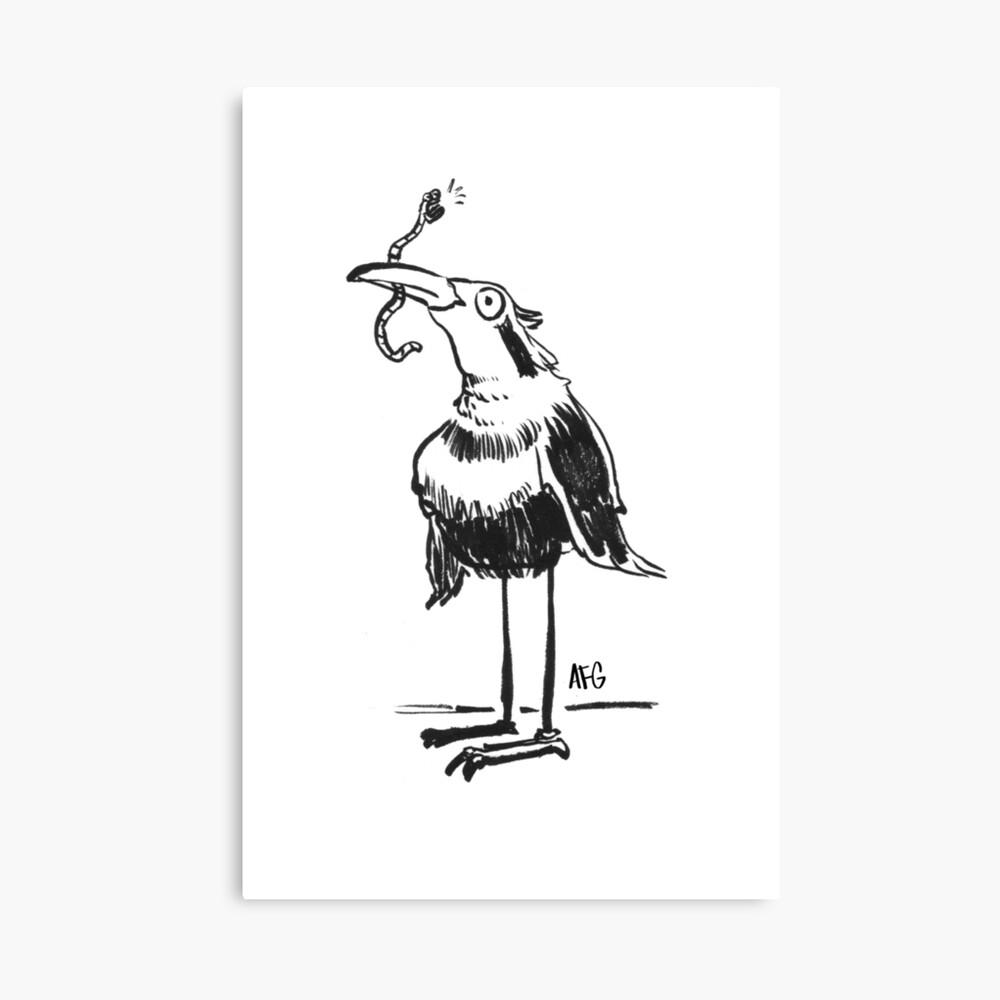 Inktober 2015 Day 20 - Bird and Worm Canvas Print