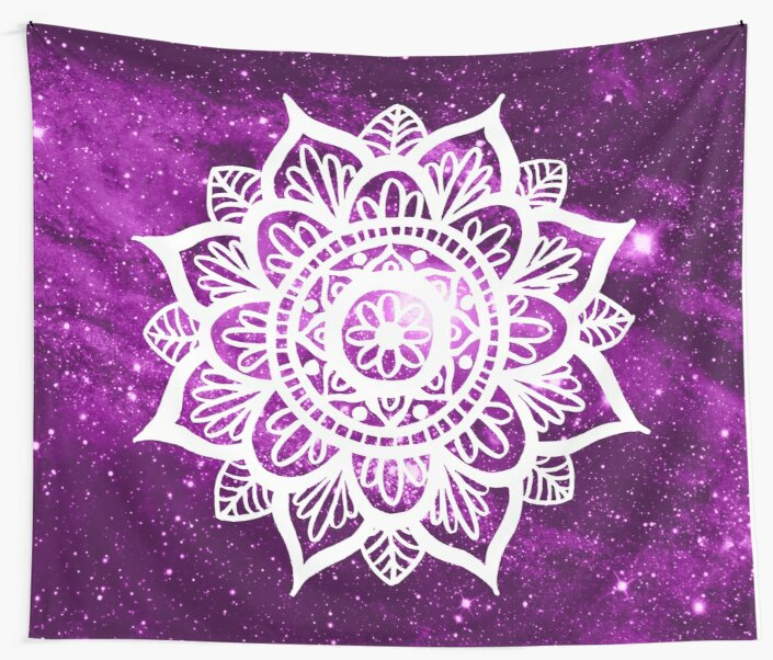 Purple Galaxy Mandala by julieerindesign