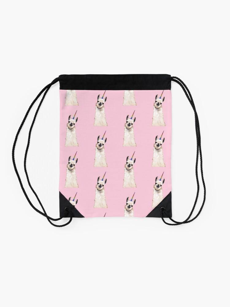 Alternate view of Unicorn Llama Drawstring Bag