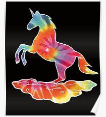 Retro Tie Dye Rainbow Unicorn - I love Unicorns! Poster