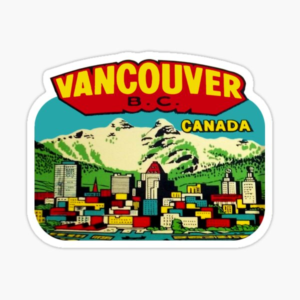 Downtown Vancouver BC Vintage Travel Decal Sticker