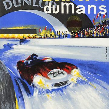 1958 24h Le Mans Grand Prix Automobile Race Poster by retrographics