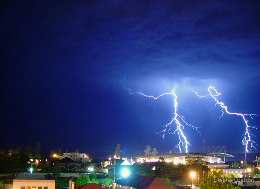 Lightning over Win Stadium at Wollongong by Stephen Balson