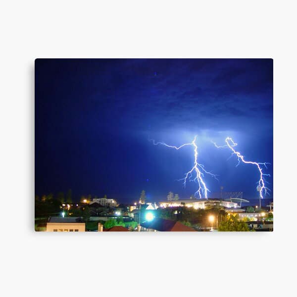 Lightning over Win Stadium at Wollongong Canvas Print