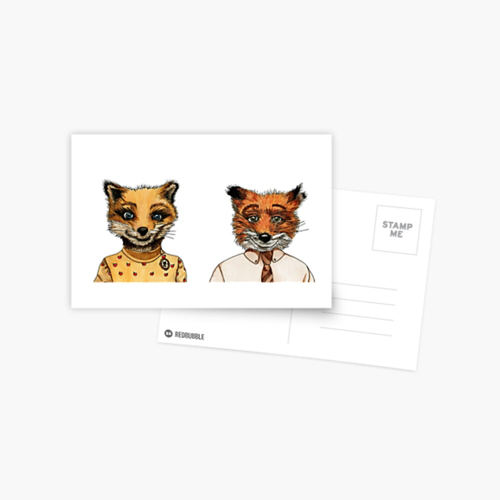 Herr und Frau Fox Postkarte