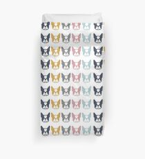 Boston Terriers in a row - multi colored Boston dogs: color series 2 Duvet Cover