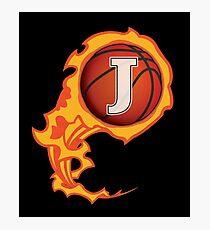 "Alphabet Initials ""J"" On Fire Basketball Monogram Photographic Print"