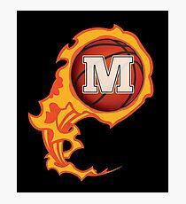 "Alphabet Initials ""M"" On Fire Basketball Monogram Photographic Print"