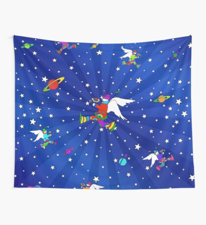 Angel Dudes Starry Night Wall Tapestry
