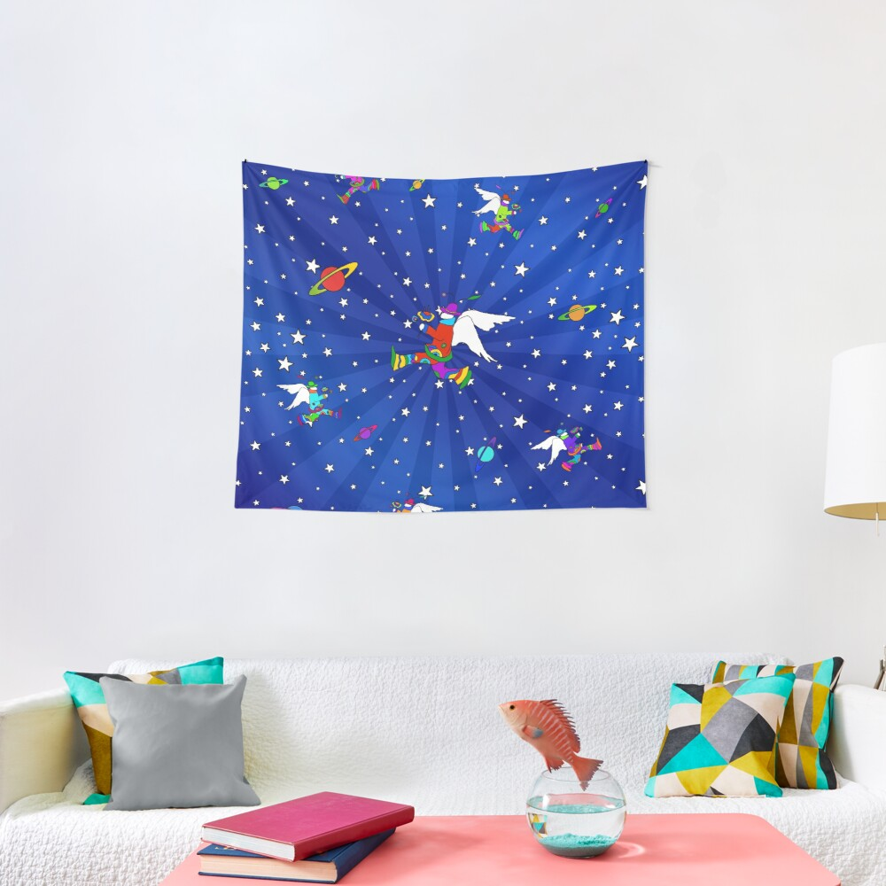 Angel Dudes Starry Night Tapestry