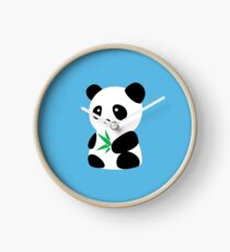 Panda with bamboo Clock
