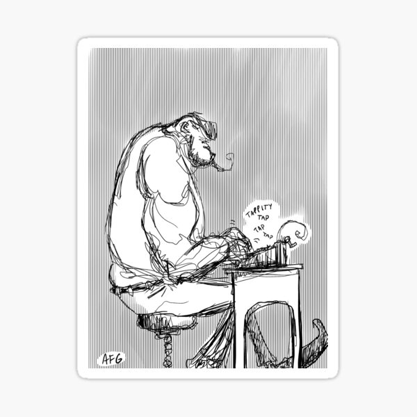 Inktober 2017 Day 02 - Gorilla Typewriter Sticker