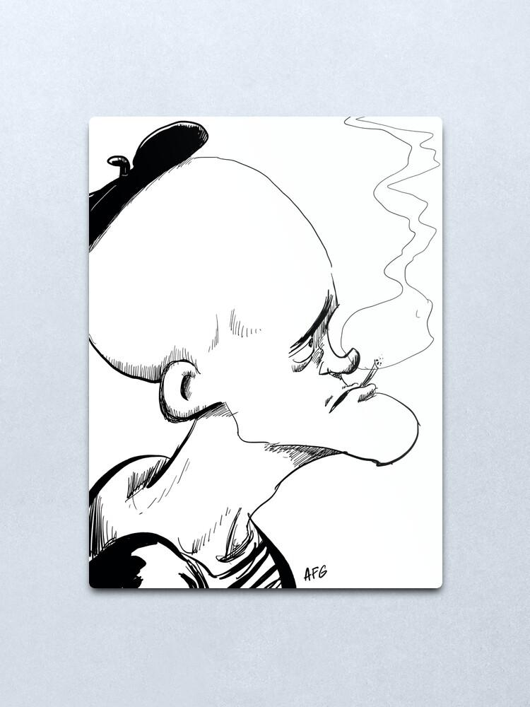 Alternate view of Inktober 2017 Day 04 - French Smoker Metal Print