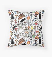 Kawaii Ghibli Doodle Throw Pillow