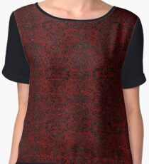 DAMASK2 BLACK MARBLE & RED GRUNGE Women's Chiffon Top
