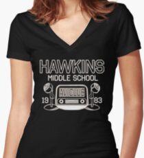 Hawkins Middle School AV Club - Stranger Things Inspired Women's Fitted V-Neck T-Shirt