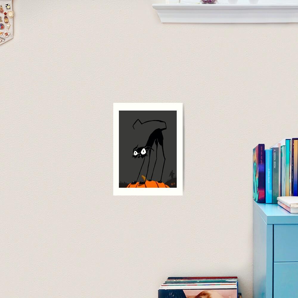 Inktober 2017 Day 27 - Halloween Cat on Pumpkin Art Print