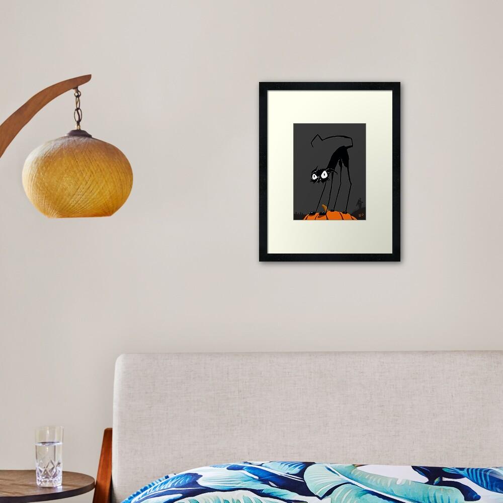 Inktober 2017 Day 27 - Halloween Cat on Pumpkin Framed Art Print