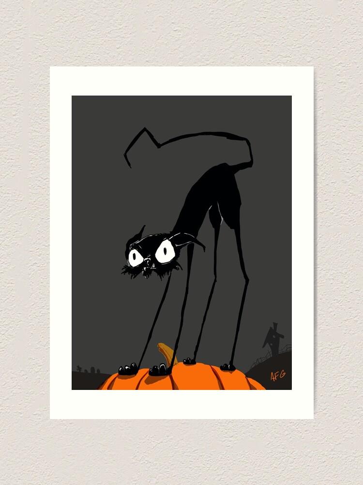 Alternate view of Inktober 2017 Day 27 - Halloween Cat on Pumpkin Art Print