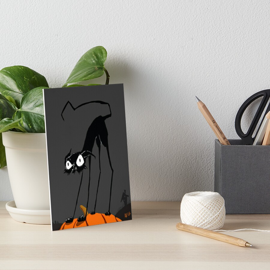 Inktober 2017 Day 27 - Halloween Cat on Pumpkin Art Board Print