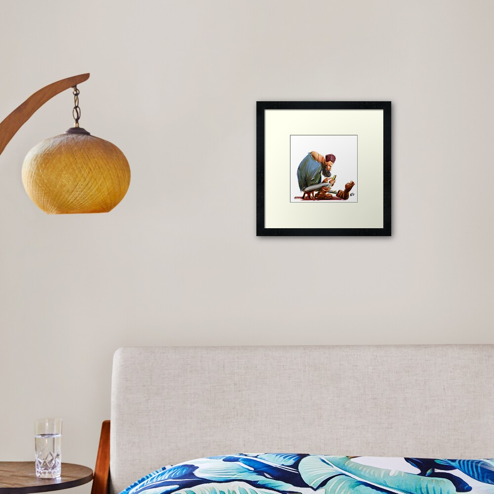 Big Feet Guy Playing with his Phone Framed Art Print