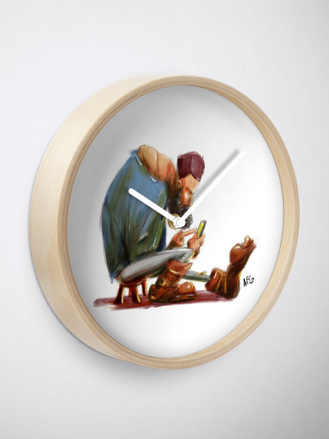 Alternate view of Big Feet Guy Playing with his Phone Clock