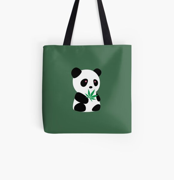 """Panda with """"recreational bamboo"""" All Over Print Tote Bag"""