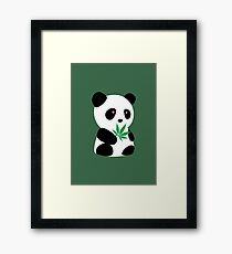 "Panda with ""recreational bamboo"" Framed Print"