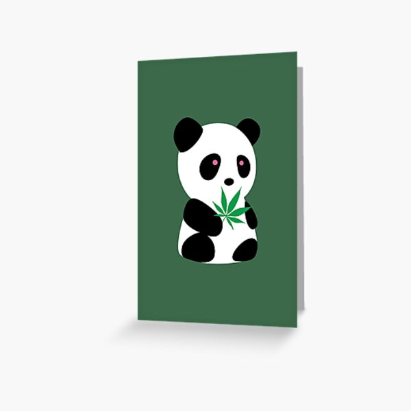 "Panda with ""recreational bamboo"" Greeting Card"