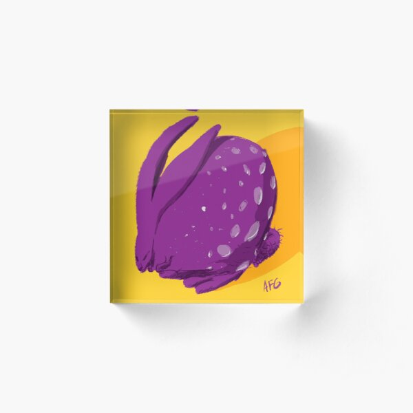 Purple Polka Dot Rabbit Acrylic Block