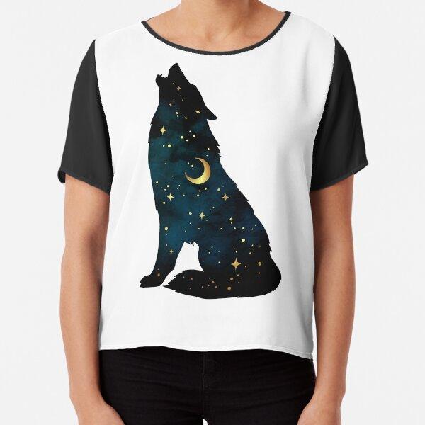 Silhouette de loup avec étoiles et lune Top mousseline