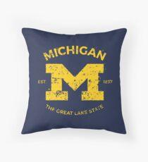 Michigan + Nickname - Vintage & Retro Throw Pillow