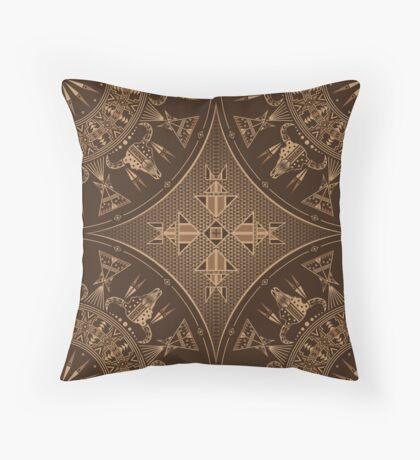 Buffalo Gathering Brown Throw Pillow