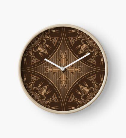 Buffalo Gathering Brown Clock