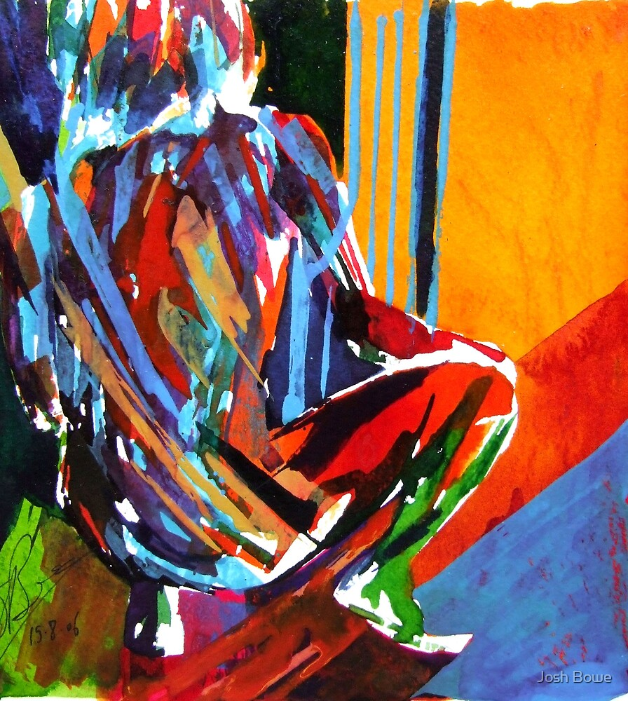 Squatting Figure Abstract by Josh Bowe