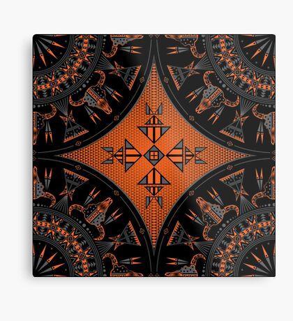 Buffalo Gathering Orange Metal Print